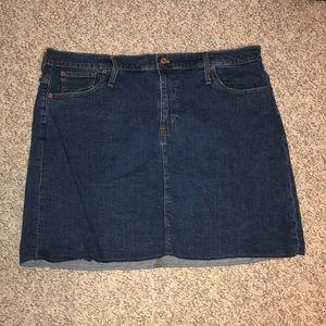 Raw Edge Denim Skirt